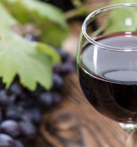 verre de vin rouge avec grappe de raisin en arrière-plan